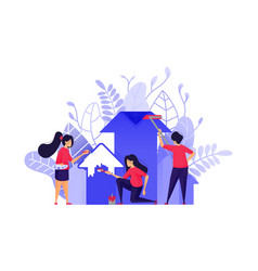 paint a profit increase with teamwork in business vector image