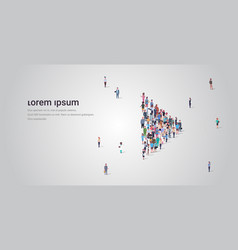 People crowd gathering in play button shape social vector