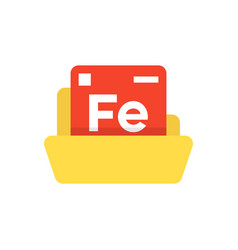 periodic table emblem with yellow folder vector image