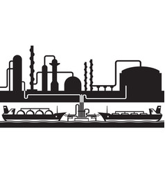 Petroleum rafinery sea export terminal vector