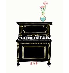 Piano card hand drawn vector image