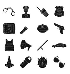 Police set icons in black style big collection of vector