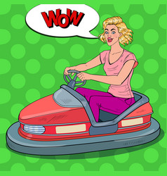 Pop art joyful woman riding bumper car at fun fair vector