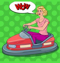 pop art joyful woman riding bumper car at fun fair vector image