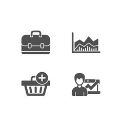 portfolio add purchase and trade infochart icons vector image