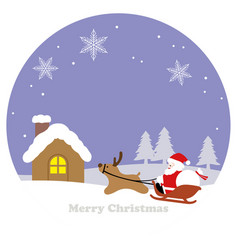 round winter landscape with santa claus vector image
