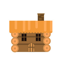 Rustic wooden log cabin vector