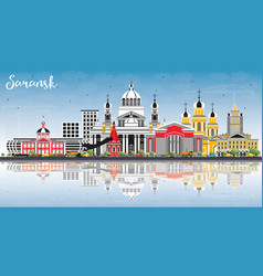 Saransk russia city skyline with color buildings vector