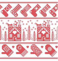 Scandinavian nordic christmas seamless pattern vector image