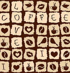 Seamless pattern of coffee puzzle vector image
