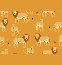 seamless pattern with of lions vector image