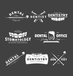 set dental labels vector image