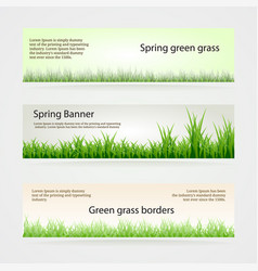 set green grass banners in different shades of vector image