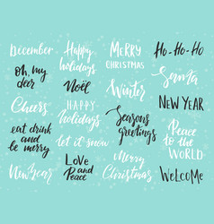 set merry christmas text hand drawn lettering vector image