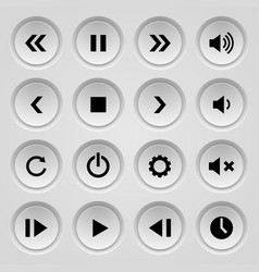 Set of black and gray round buttons of clicker or vector