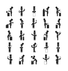 Set of chef Human pictogram Icons vector image