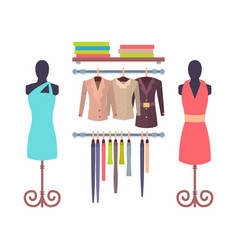 Shop window in store for women mannequins dresses vector