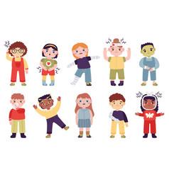 Sick children little kids with disease symptoms vector