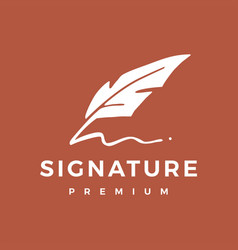 signature feather pen logo icon vector image