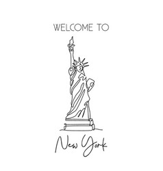 single continuous line drawing liberty statue vector image