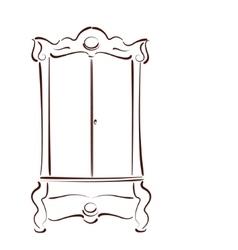 Sketched vintage wardrobe vector
