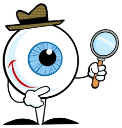 smiling detective eyeball holding a magnifying gla vector image