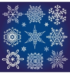 Snowflakes icon collectionWinter star shape vector image