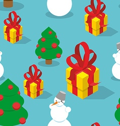 Snowman and Christmas tree seamless pattern vector image
