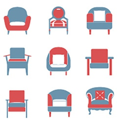 Sofas Icons Set Duotone vector image