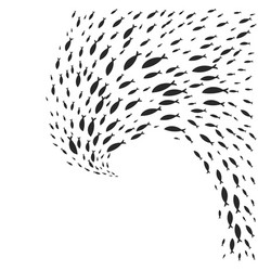 Spiral shoal of graphic fish vector