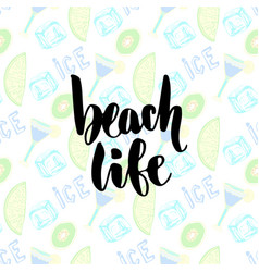 Summer cocktails background hand lettering beach vector