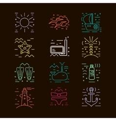 Summer icons marine design elements vector