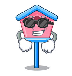 super cool character cute wooden bird house in vector image