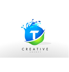 t letter logo blue green splash design vector image