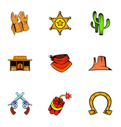 texas icons set cartoon style vector image