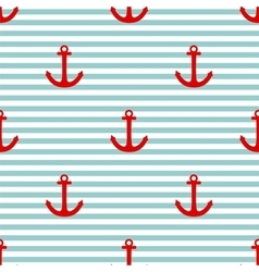 Tile sailor pattern with red anchor vector image