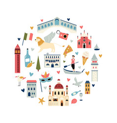 Tourist abstract circle design with famous vector