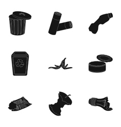 Trash and garbage set icons in black style Big vector