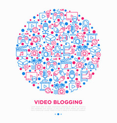 Video blogging concept in circle with thin line vector