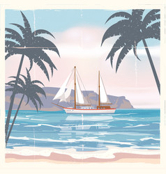 Vintage seaside summer view poster seascape ship vector