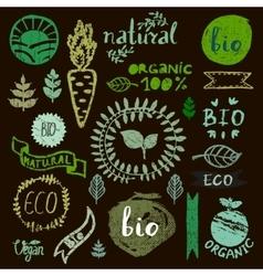 Watercolor logotypes set Badges labelsgreen vector
