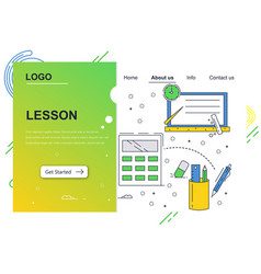 web site linear art design template school vector image