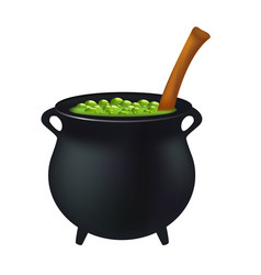 witch cauldron with green potion bubbling witches vector image