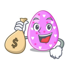 With money bag easter egg cartoon clipping on path vector
