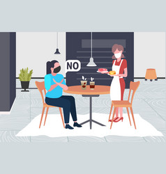 Woman in mask doing cross arms say no to waitress vector