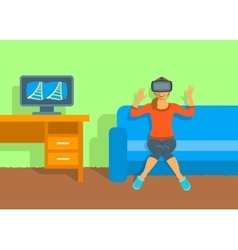 Woman in virtual reality glasses VR box at home vector image