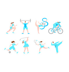 women professional sport cartoon characters vector image