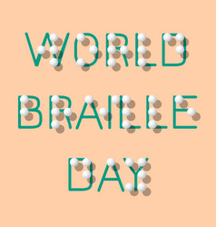 World braille day social event concept for blind vector