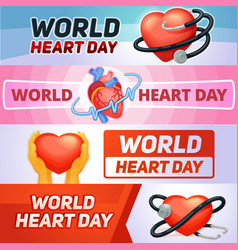 world heart day banner set cartoon style vector image