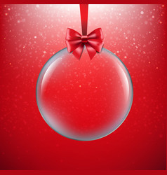 xmas red background with christmas ball vector image